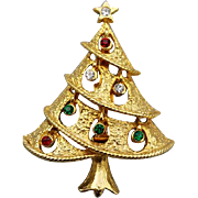 Vintage Christmas Tree Brooch Rhinestones Open Work