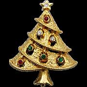 Vintage Christmas Tree Brooch Rhinestones Open Work