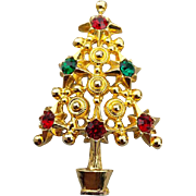 Rhinestone Studded Christmas Tree Brooch Fancy Metal Work