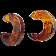 Bakelite Earrings Root Beer Swirls Autumn Colors