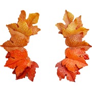 Vintage Clip on Earrings Autumn Maple Leaves Brilliant Fall Color