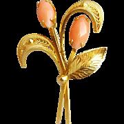 Angel Skin Coral Brooch 12 Kt Gold Filled 1960s - 1970s Vintage