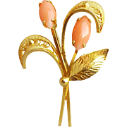 Angel Skin Coral Brooch 12 Kt Gold Filled 1960s - 1970s Vintage