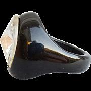 Bold Black Bakelite Ring with Huge Rivoli Rhinestone Size 6-1/2