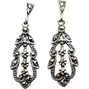 Vintage Sterling Silver Earrings with Marcasite Pierced 4.2 Grams
