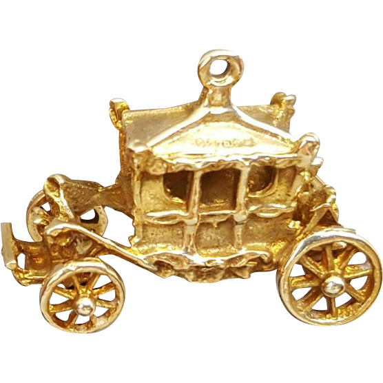 Royal Carriage Coach Bracelet Charm Articulated 9K Gold 3.6 Grams