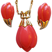 1970s Coral Lotus Bud Necklace and Earrings Double Choice Sarah Coventry
