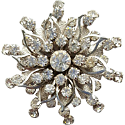 Flashy 1960's Crystal Rhinestone Brooch Whirling Starburst