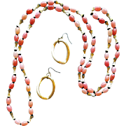 Long Vintage 1970s Necklace Pink Plastic Beads with Earrings