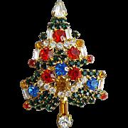 Big Rhinestone Encrusted Christmas Tree Brooch Fancy Flash