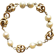 14k Yellow Gold Bracelet Stunning Baroque Pearls Custom Design 15.6 Grams