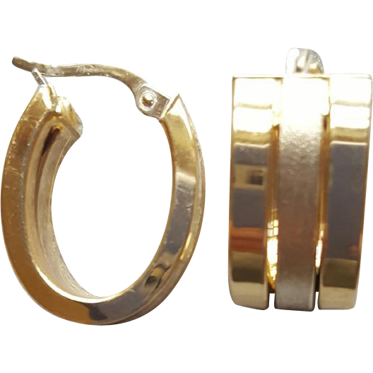 Exquisite 14Kt Yellow and White Gold Triple Hoop Earrings 5 Grams