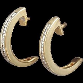 14K Yellow Gold Pierced Earrings Huggie Hoops Channel Set Diamonds 3.6 Grams
