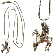 Vintage Sterling Silver Pegasus Pendant Famous Flying Horse