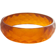 Wide Faceted Prystal Bakelite Bangle Bracelet Deep Honey - Iced Tea