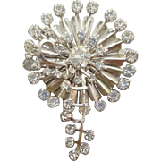 Large Vintage Crystal Rhinestone Brooch Waterfall Spills of Sparkle