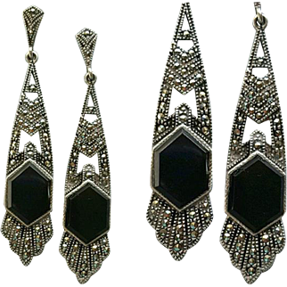 Stunning Sterling Earrings Marcasites Onyx Art Deco Design Unique