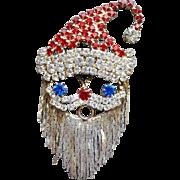 Rhinestone Santa Claus Brooch Fluid Mesh Beard for Christmas