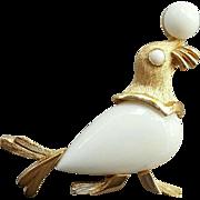 Crown Trifari Circus Seal Balancing White Ball 1960s HTF