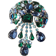 Huge Blue and Green Rhinestone Girandole Brooch Vintage Splash 1960s