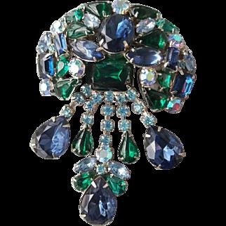 Huge Blue and Green Rhinestone Girandole Brooch Vintage Splash 1960s