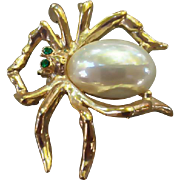 Faux Pearl Belly Spider Brooch Legend of the Christmas Spider