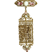 Pink Rhinestone Faux Moonstone and Fluid  Gold Metal Mesh Fob Brooch
