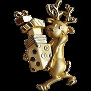 Christmas Reindeer Brooch Lots of Presents Comic Novelty Pin