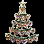 Vintage Rhinestone Christmas Tree Brooch Unusual Heart Shapes