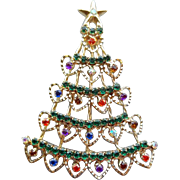 Vintage Rhinestone Christmas Tree Brooch Unusual Heart Shapes