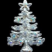 Sweet Silver Tone Christmas Tree Brooch Aurora Borealis Rhinestones