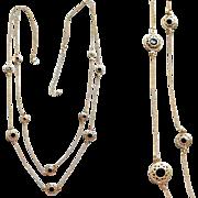 Elegant Double Strand Necklace Black Rhinestones In Fancy Baskets XL