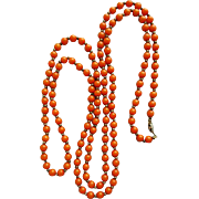 Vintage Coral Colored Bead Necklace Extra Long 58 Inches