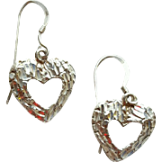 Sterling Silver Open Heart Earrings or Charms Diamond Cuts