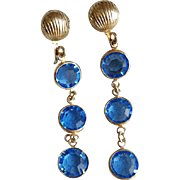Vintage Swarovski Blue Crystal Dangle Earrings Screw Back