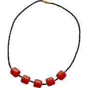 1970s Vintage Necklace Red African Copal Trade Beads