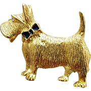 Scottish Terrier Brooch Gold Metal Scotty with a Bow Tie