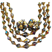 1960s Cut Crystal Parure Bib Necklace Earrings Aurora Finish