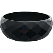 Wide Black Bakelite Bangle Diamond Carved Facets