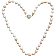 Sophisticated Freshwater Pearl Necklace 14K White Gold Filled Clasp