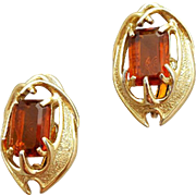 Amber Topaz Rhinestone Earrings Open Work Drama