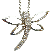 Sterling Silver Dragonfly Necklace Sparkling CZs 3.3 Grams