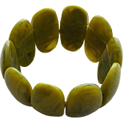 Luscious Lucite Stretch Bracelet Great Greens in Oval Slabs
