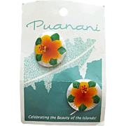 Handpainted Mother of Pearl Earrings Hawaiian Hibiscus