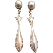 Sterling Silver Pierced Earrings Victorian Design Elegant 3.2 Grams