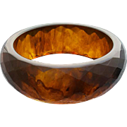 Bakelite Bangle Bracelet  Root Beer Carved  Diamonds