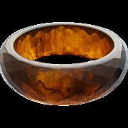 Bakelite Bangle Bracelet  Root Beer Carved  Diamonds