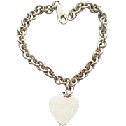 Heavy Sterling Silver Bracelet with Heart Charm 18.8 Grams