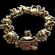 Vintage 1980s Noah's Ark Bracelet Bronze Finish