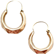 9 Kt Carat Earrings Dainty Faceted Creole Hoops